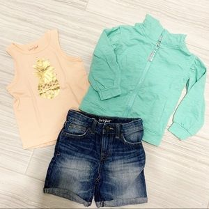 Girls 3T outfit - jean shorts with tank and hoodie